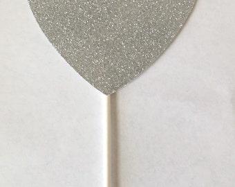 Glitter Heart Cake Topper - Birthday - Wedding - Anniversary - Engagement - Shower