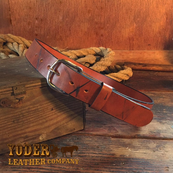 warm medium brown leather belt aged grunge pattern amish