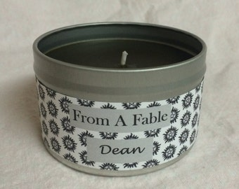 "Supernatural Inspired-""Dean"" Winchester Scented 8oz. Pure Soy Candle in Tin"