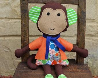 Soft toy boy monkey, handmade animal ragdoll, softy, plush toy