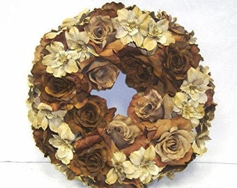 Fall colors  earthtone wreath  or table centerpieces ring  wonderful pieces for a table  or wall setting