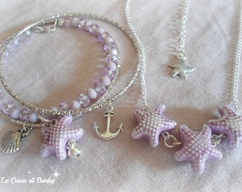 Necklace with pink starfish, starfish bracelet with pink, pink jewelry sets with starfish, pink jewelry set