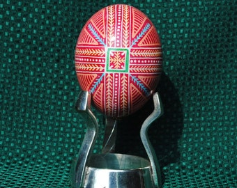 Stand included. Ukrainian Egg, traditional pysanky method, pisanki, ornament, batik, traditional pisanki