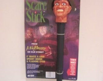 Vintage Nightmare on Elm street Freddy Krueger Scare STick creepy battery operated toy MOC rare
