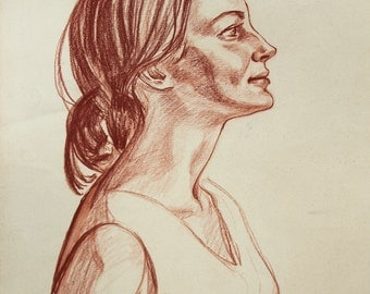 DRAWING FEMALE PORTRAIT, Vintage Charcoal Drawing by Feigin L. 1970 One of a Kind, Not a Print, Handmade Signed Artwork Portrait of a Woman