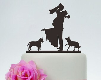 Wedding Cake Topper,Couple Silhouette,Bride And Groom Cake Topper With Two Dogs,Custom Cake Topper,Funny Cake Topper P130
