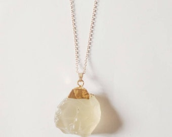 Gemstone Necklace, Quatrz Necklace, Quartz Pendant, Raw Gemstone Necklace, Chakra Necklace, Quartz Necklace, Gold Plated