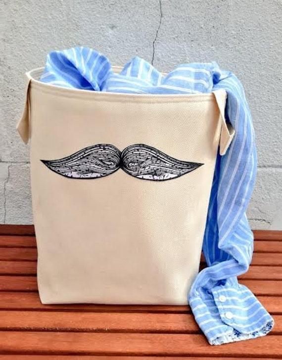 Moustache Laundry Bag Denim Large Tall Cotton Canvas Hamper