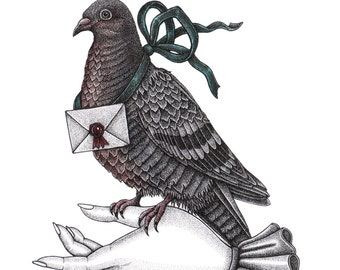 Carrier Pigeon Birthday Card