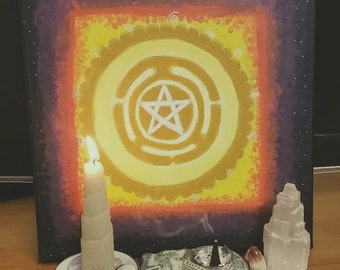 Hekate Wheel Mandala with pentacle painting on canvas