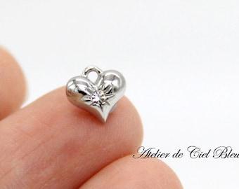 Heart Charm, Tiny Silver Heart Charm, Swarovski Crystal Heart Charm, Heart Jewelry, Tiny Silver Charm