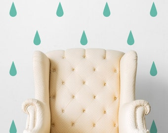 Mint Raindrops | Pattern Animals Kids Nursery | Removable Wall Decal Sticker | MS171VC-Mint