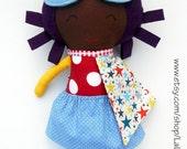 AFRO DOLL, black doll, ragdoll, superhero doll, fabric dolls, dolls, cloth dolls, handmade doll, african american doll, custom doll, softtoy