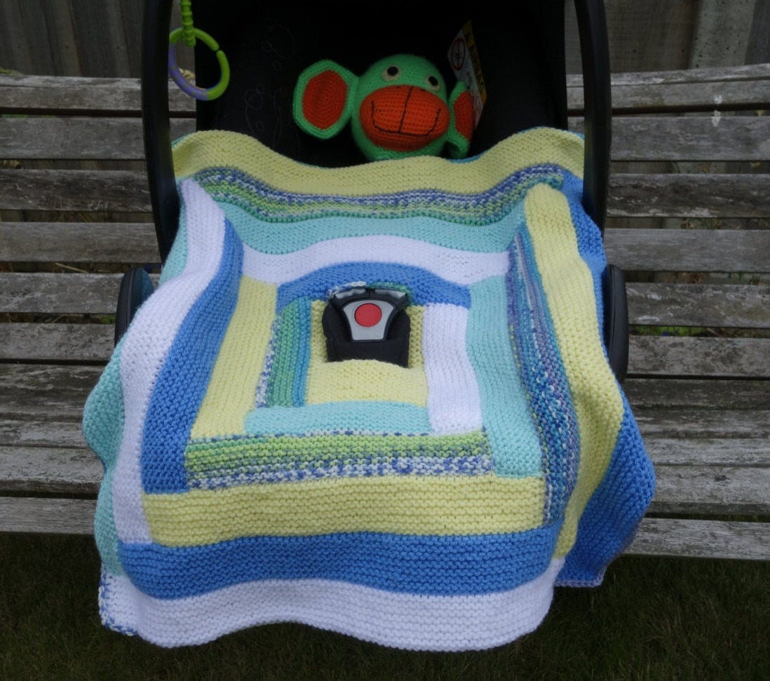Knitted Car Seat Blanket Pattern : Hand knitted car seat blanket baby blanket baby boy blanket