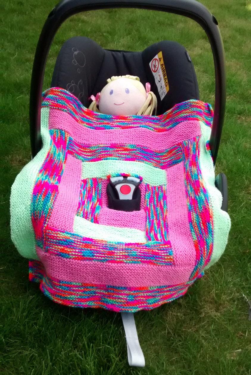 hand knitted car seat blanket baby girl blanket stroller. Black Bedroom Furniture Sets. Home Design Ideas