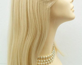Long 21 inch Straight Blonde Lace Front Wig with Bangs and Premium Heat Resistant Fiber. [37-204-Sonya-613]