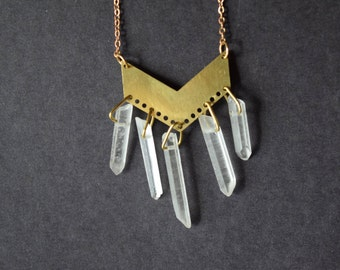 Chevron & quartz point pendant on brass chain