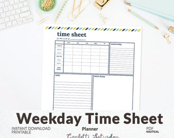 Time Sheet - Day Planner - Work Week Time Sheet - INSTANT DOWNLOAD