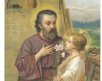 "Saint Joseph with the Holy Child Jesus picture Catholic Art Print  - 8"" x 10"" by Artist Volkel - ready to frame!"