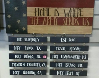 Home Is Where The Army, Air Force, Marine, Navy, Coast Guard Sends Us, Customize Military Duty Station Signs, Hand Painted Military Signs