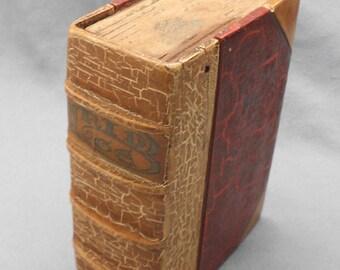 1910s Antique WOOD BOOK Secret Storage Box, American Folk Art Lidded Box, Vintage Hand Crafted Wooden Book Box, Old Secret Stash Box Book