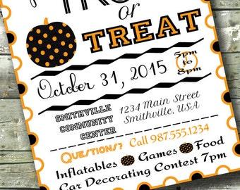 Trunk or Treat ~ HALLOWEEN PARTY ~ 5x7 Invite ~ 8.5x11 Flyer ~ 11x14 Poster ~ 300 dpi Digital Invitation