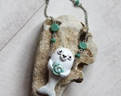 Song of the Sea Cute Necklace, Sea Jewellery, Polymerclay Pendant Selkie, White Seal