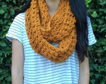 Crochet Butterscotch / Golden / Mustard / Yellow Infinity Scarf