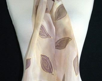 Tan Silk Scarf. Ivory, Terracotta Hand Painted Shawl. Handmade Silk Scarf ALASKA MORNING. 8x54. Birthday Gift, Bridesmaids, Anniversary Gift