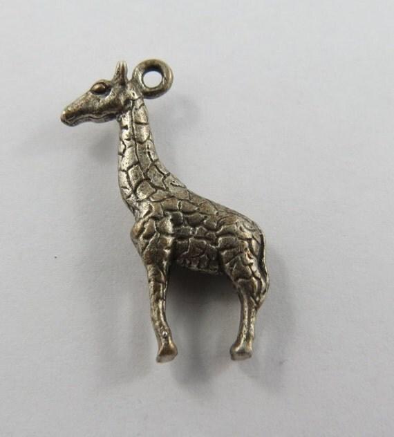 Giraffe Charm Bracelet: Giraffe Sterling Silver Vintage Charm For Bracelet