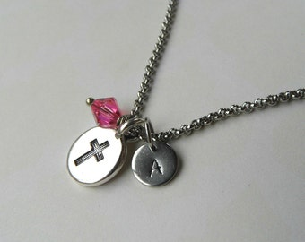 Cross necklace, confirmation necklace, baptism necklace, religious necklace, birth necklace, birthstone necklace, initial necklace