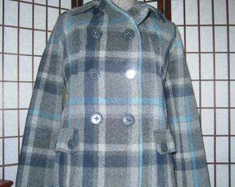Women's Pea Coat - Blue/Grey Plaid