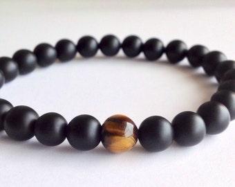 Mens Matte Black Onyx & Tiger Eye Bracelet, Mens Beaded Bracelet, Stretch Bracelet, Bracelet For Men, Free Shipping, Man Bead Bracelet