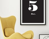 """Number 5 Typography Printable Wall Art 24 x 36"""" - Scandinavian Print - Nordic Design - Black and White Minimal Wall Art - Instant Download"""