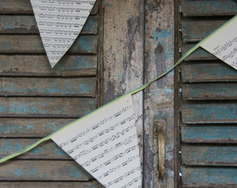 Paper garland handmade out of sheet music over 22 feet, book garland