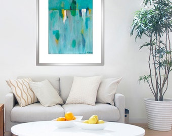 """Abstract Painting, GICLEE Print, minimalist art, blue, turquoise, white abstract painting, fine art print of expressionist painting, """"Tacet"""""""