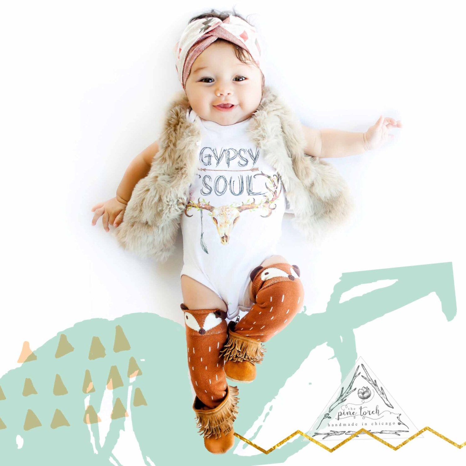 Gypsy Soul Skull Antlers Feather Baby Bodysuit Creeper One