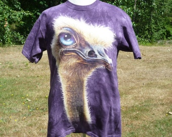 EMU t shirt or OSTRICH t shirt made in U.S.A.,  a charming mauve...staring...quietly...deciding what it will do next...in purple, staring...
