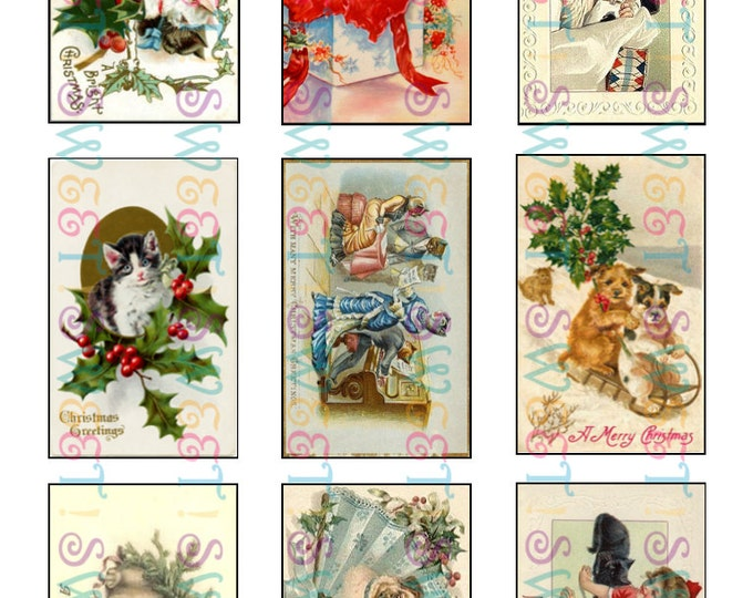 Edible Vintage Pet Christmas Card Cookie Toppers - Wafer Paper or Frosting Sheet