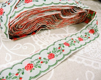 Vintage woven ribbon with roses pattern