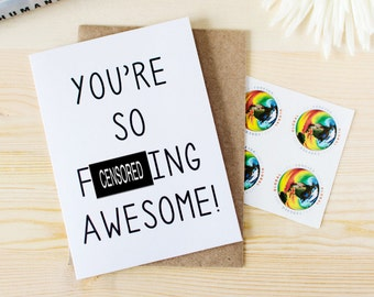 Funny Thank You Card - Funny Anniversary Card - You're So F-ing Awesome! Funny Valentine's Day Card. Funny Besties Card. Just Because card