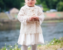Woolen Christening sweater - overcoat , Knitted Girl's sweater , Baptism vintage woolen sweater , Lace christening gown,  Flower girl dress