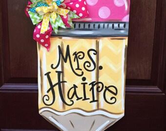 Pencil Door Hanger/Teacher Door Hanger/Back to School Door Decor/Teacher gift/The Gilded Polka Dot
