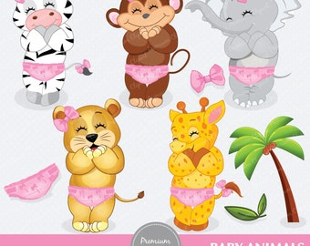 Baby safari animals digital clipart, safari animals clipart, safari clipart, jungle animals clipart - CA141