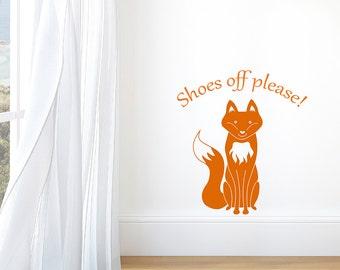 Shoes off please Fox Decal Hallway Vinyl Wall Sticker
