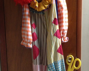 Vintage Clown Costume with accessories, Clown Halloween Costume