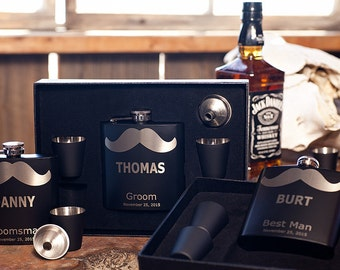 Flask Gift Set, Personalized Mustache Flask, Custom Engraved Gift, Flask +Funnel +Shot Glasses, Bachelor Party, Man Cave