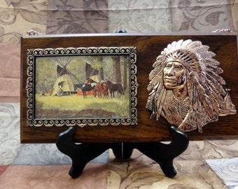 Photo Frame with Brass Indian Chief