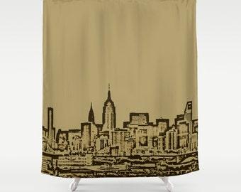 Manhattan Skyline Beige,Shower Curtain,NewYork,City,Bath Curtain,Bathroom Decor,Accessories,Bathroom Art,DesignerCurtain,Interior Design