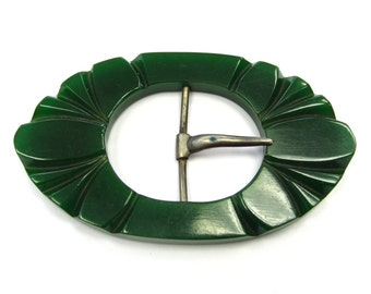 Vintage Bakelite or Celluloid Early Plastic Jungle Forest Green Belt Buckle, Deco or Mod look, Etched Detail
